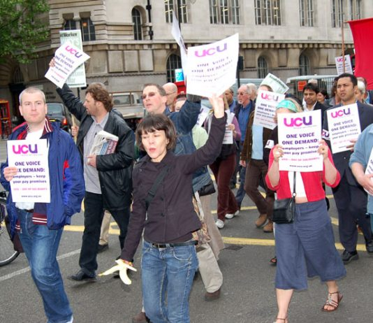 Newly formed University and College Union members on their solidarity march yesterday
