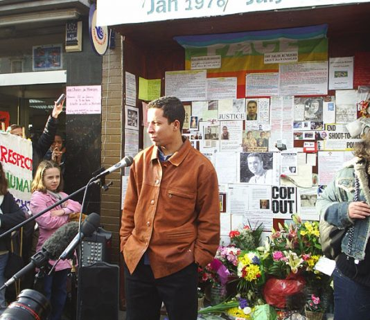 Jean Charles de Menezes' cousin ALEX PEREIRA addressing a meeting outside Stockwell Tube six months after the murder of Jean  by a police shoot-to-kill squad on July 22 2005
