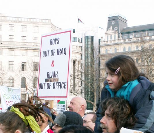 A clear message at the Trafalgar Square rally following the March 18 'Troops Home from Iraq' demonstration in London organised by the Military Families Against the War