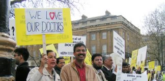 Experienced and skilled overseas doctors demonstrate against Labour's new ruling which is forcing them out of the NHS