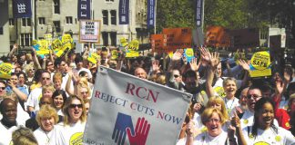 Nurses rallying in central London on May 11th demanding no cuts be made in the NHS