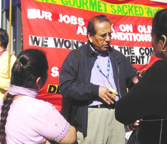 Gate Gourmet locked-out workers speaking to TGWU EC member IGGY VAID who was victimised by the management after BA baggage handlers took unofficial strike action to support the locked-out workers on August 11th & 12th 2005