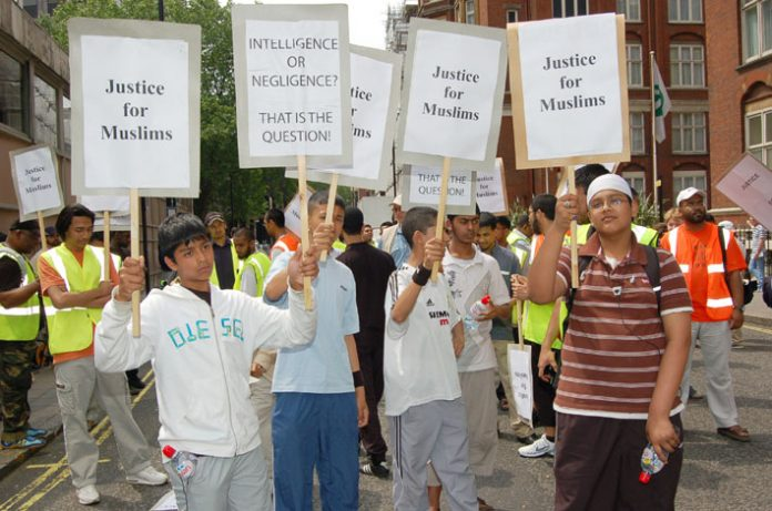 Youth from Forest Gate demonstrating outside New Scotland Yard yesterday afternoon