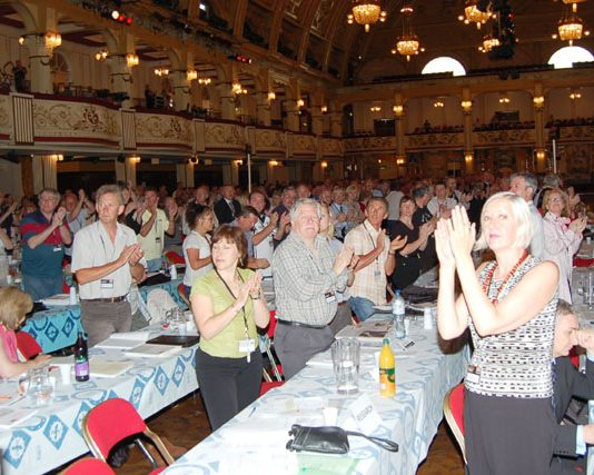 Delegates applauding at the GMB Congress yesterday morning