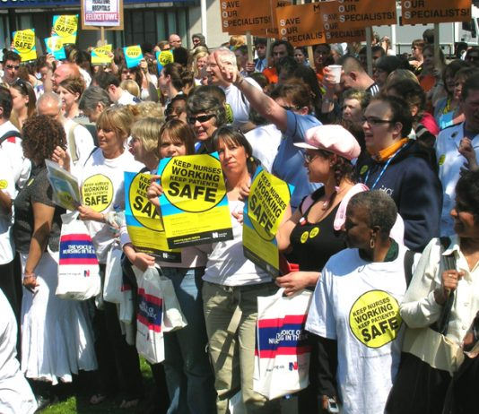 RCN yesterday condemned the privatisation of primary care. Nurses demonstrate to defend the NHS