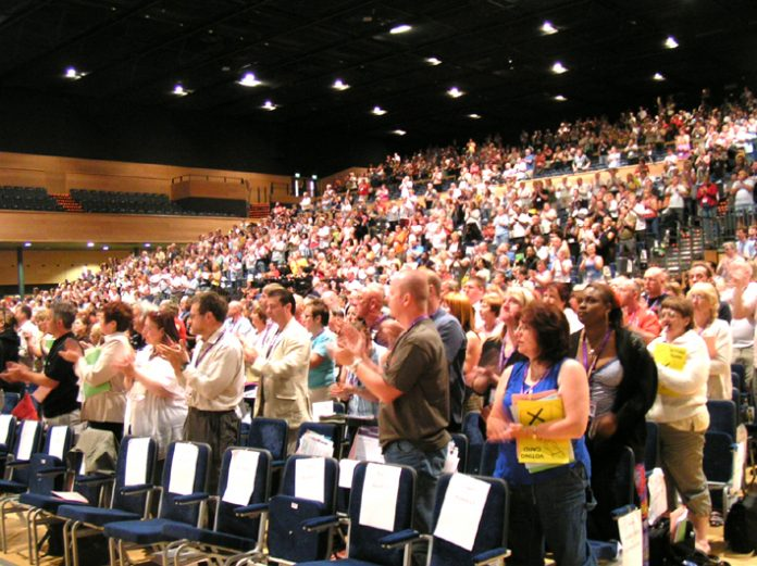UNISON delegates yesterday in a standing ovation to Thabitha Khumalo, Zimbabwe fraternal delegate