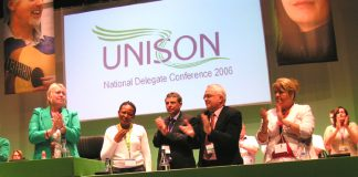 Thabitha Khumalo receiving huge support from UNISON Conference after bringing fraternal greetings from Zimbabwe