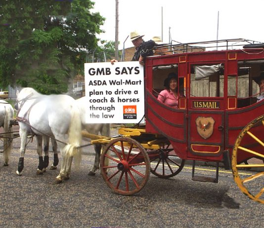 The GMB 'Coach and Horses' demonstrating in Charlton yesterday morning