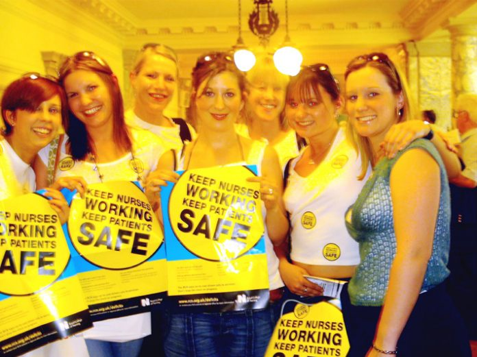 Student nurses at the RCN mass rally in Westminster. Thousands will not get nursing jobs when they graduate this summer