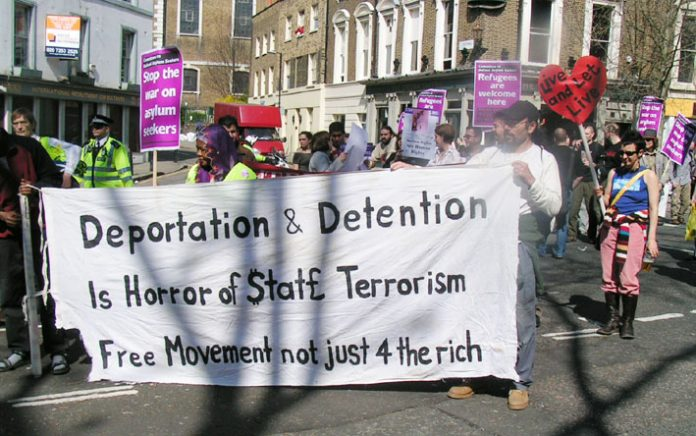 Demonstration against Labour's attack on asylum rights in April last year