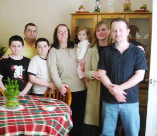 GMB ex-Southwark council caretaker STEVE BARRETT (rear, left) with his family
