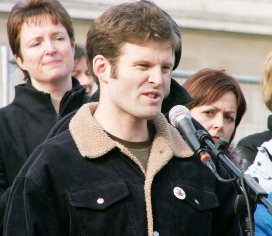 BEN GRIFFIN, an SAS trooper who refused to serve in Iraq addresses rally on the third anniversary of the attack on Iraq