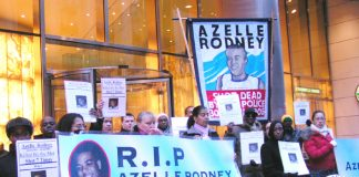 Azelle Rodney family and supporters demonstrating outside Independent Police Complaints Commission offices last December