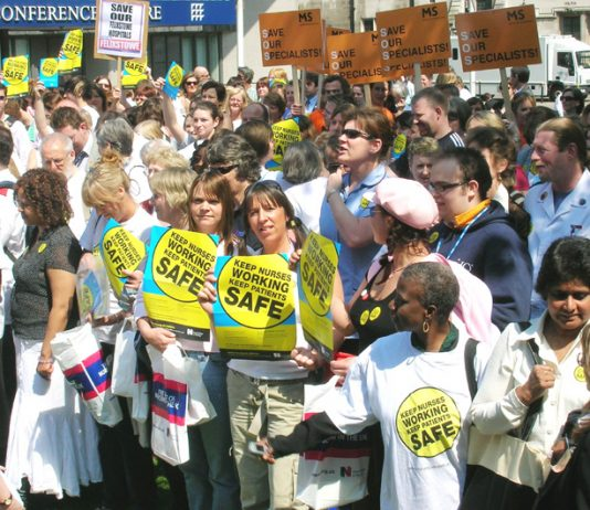 Nurses rally in central London on May 11 against cuts