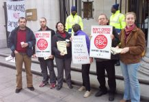 NUJ members picketing Bush House in May last year against cuts in the service