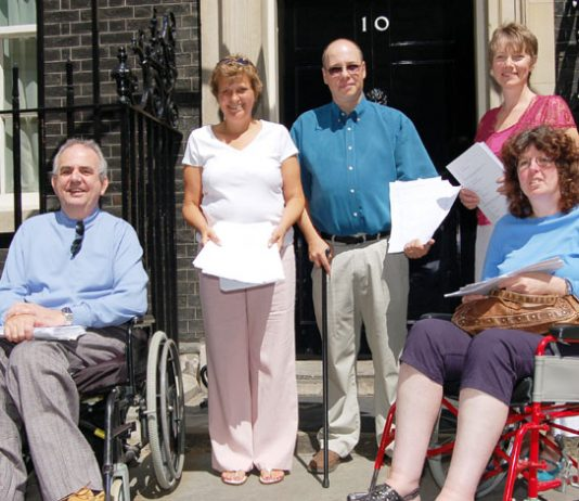 Members of the MS Nurses campaign delivered their petition against cuts to Downing Street yesterday
