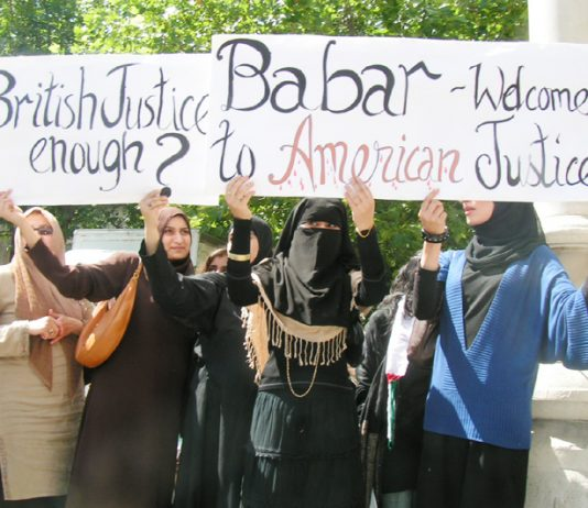 Supporters of Babar Ahmad outside the High Court on Tuesday