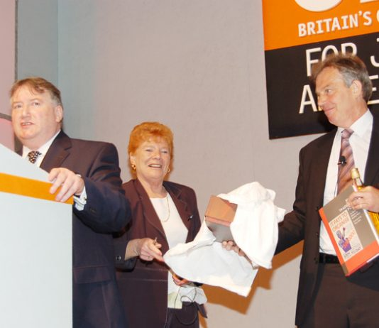 Weary looking Blair came under fire at GMB conference