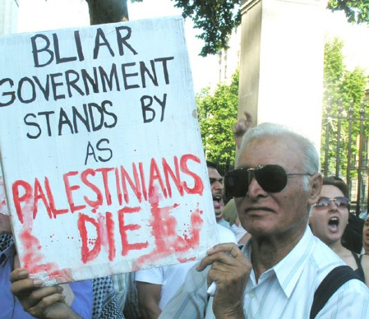 Demonstrators outside Downing Street on Wednesday night condemned Blair's silence over the Israeli bombardment of Gaza