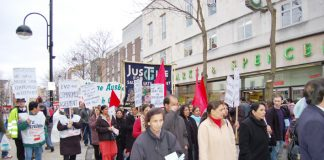 Gate Gourmet locked-out workers and supporters marching through Hounslow last March