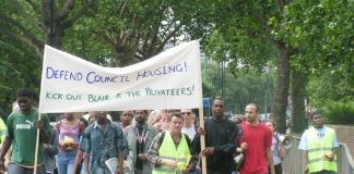 The head of yesterday's march of more than 100 youth and tenants through the Aylesbury estate in south London