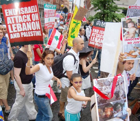 A section of the many thousands of marchers who demonstrated outside the American embassy in London last Saturday in support of Hezbollah and against the Israeli attack on the Lebanon
