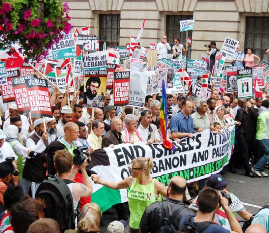 The front of last Saturday's 30,000-strong march through central London condemning Israel