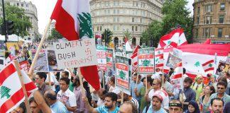 Marchers in London last Saturday condemned US-backed Israeli terror bombing