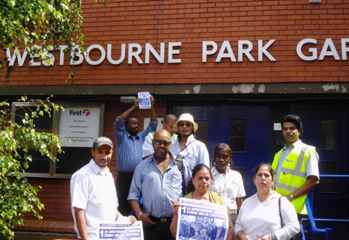 Gate Gourmet locked-out workers won big support when they took their campaign for their first anniversary march to busworkers in west London