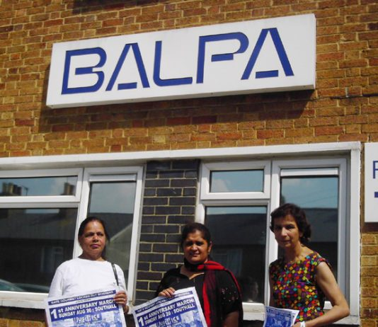 Gate Gourmet locked-out workers outside BALPA offices yesterday campaigning for their first anniversary rally