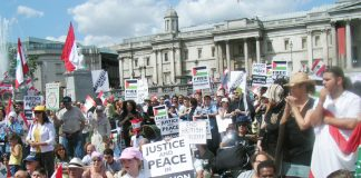 A section of the 3,000-strong rally in Trafalgar Square on Sunday demanding an Immediate ceasefire in the Lebanon