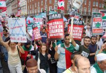 Marchers on July 22 demonstration against the attack on the Lebanon and Palestine denounce US, UK and Israel as terrorist