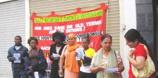 The campaign team for the Gate Gourmet workers anniversary rally in Southall yesterday