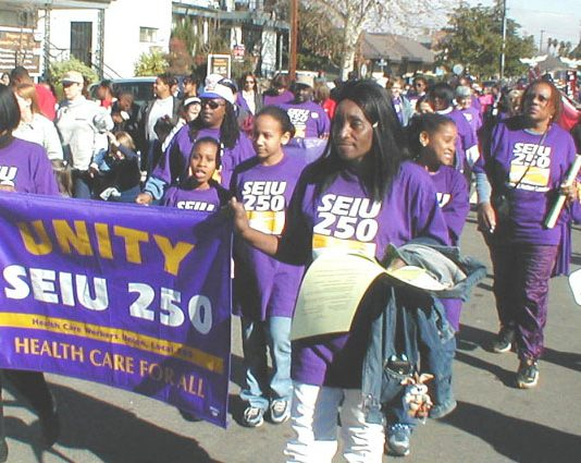 SEIU marching for 'Healthcare for all' in Oakland California