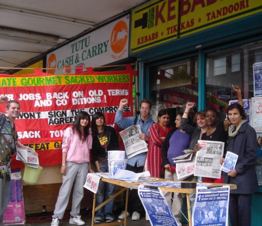 Gate Gourmet sacked workers  on Southall Broadway yesterday campaigning for their march on Sunday