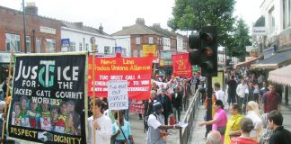 The 600-strong Anniversary march of the locked-out Gate Gourmet workers won a big response as it went through the busy Southall Broadway