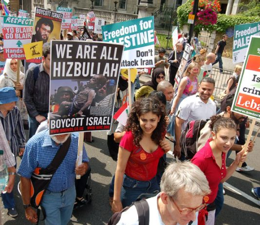Marchers in London on August 5th against Israel's attack on Lebanon show their support for Hezbollah