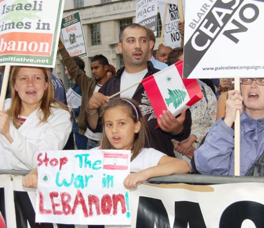 Protesters outside Downing Street on July 11 condemned Israeli war crimes against Lebanon – Amnesty International has said Israel bombed  civilians deliberately