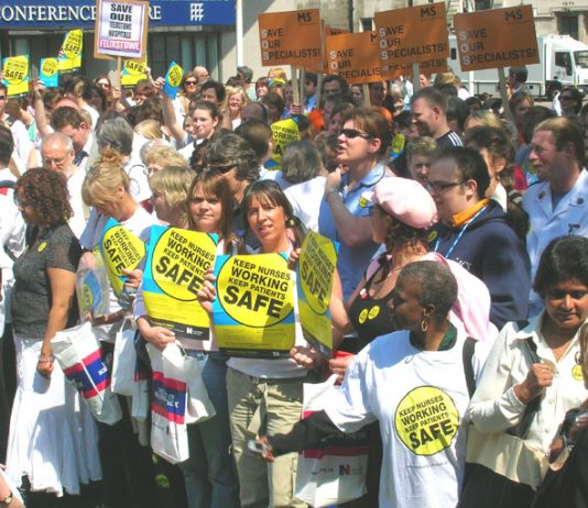 Mass rally of Royal College of Nursing members in central London on May 11 against cuts in the NHS