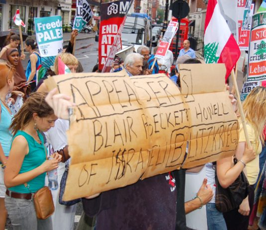 Demonstrators against the war on Lebanon condemn Blair and Beckett for supporting Israel's 'blitzkrieg'