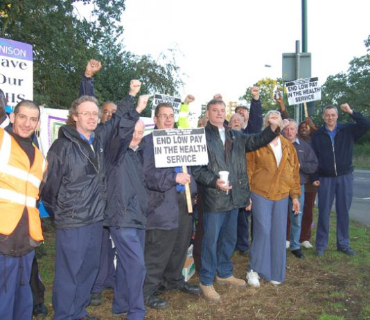 Whipps Cross strikers on the picket line early yesterday morning