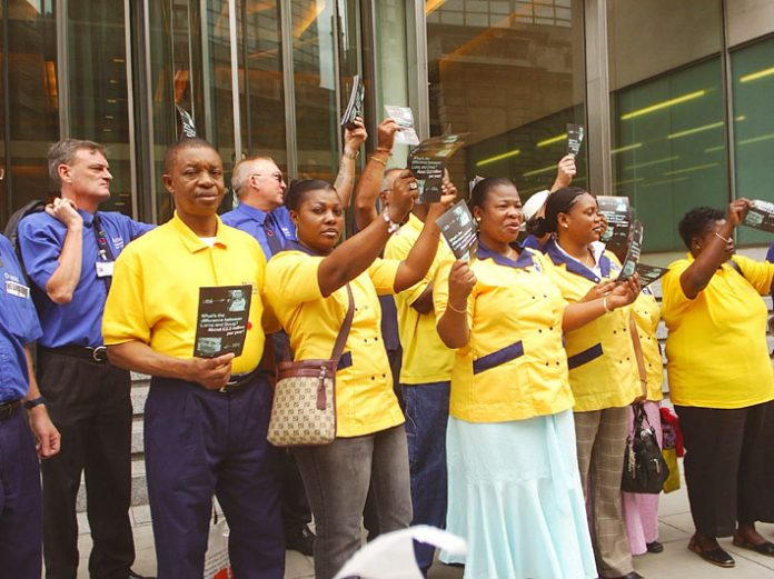 Whipps Cross strikers took their campaign to Rentokil head office in Victoria, central London, yesterday