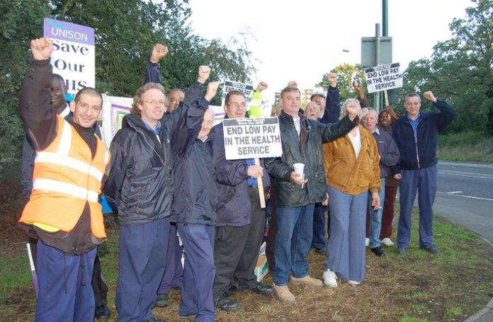Whipps Cross Hospital strikers on the picket line last Wednesday determined to win their pay dispute