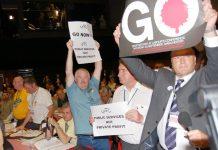 RMT leader BOB CROW and his delegation demand that Blair go