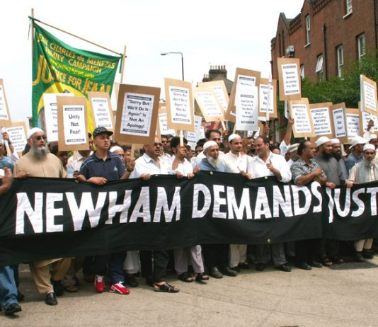 Residents of Newham take to the streets to condemn the police shooting of Muhammad Abdul Kahar during an assault on the family home in the early hours of June 2 this year