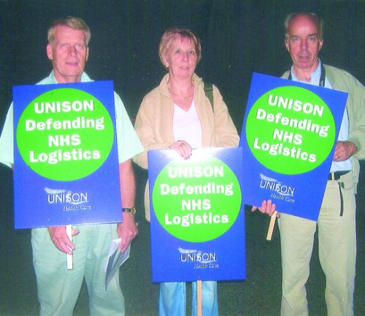 Part of the picket line at NHS Logistics at Bury St Edmunds late Thursday evening