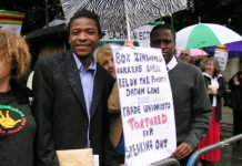 Up to 200 people took part in yesterday's picket of the Zimbabwe embassy despite rain