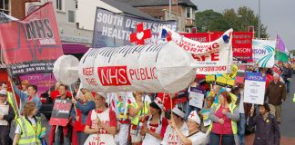 The front of the 5,000-strong march to defend the NHS setting off through Nottingham last Saturday