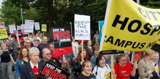 NHS workers marching through Nottingham last Saturday are determined the NHS must remain a public service