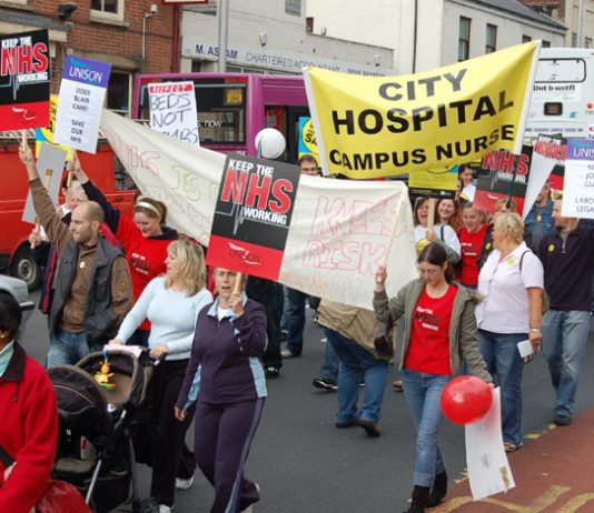 Part of the 5,000-strong lively demonstration in Nottingham last Saturday demanding national trade union action to defend the NHS